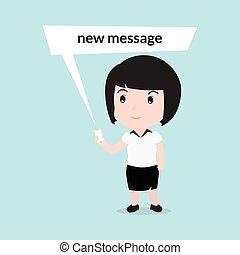 女性ビジネス, テキスト メッセージ, 読書, 漫画