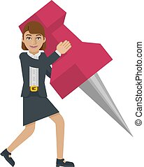 女性ビジネス, ピン, 画びょう, 保有物, マスコット