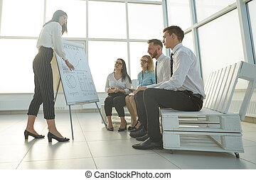 女性ビジネス, プレゼンテーション, プロジェクト, 新しい, 作り
