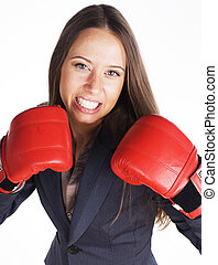 女性ビジネス, ボクシング, 活動, 肖像画, 赤, gloves.