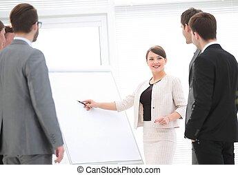 女性ビジネス, マーケティング, プレゼンテーション, プロジェクト, 新しい, 作り