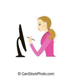 女性ビジネス, モデル, コンピュータモニター