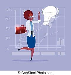 女性ビジネス, ライト, 考え, 創造的, アメリカ人, 概念, アフリカ, 新しい, 電球