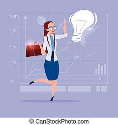 女性ビジネス, ライト, 考え, 創造的, 概念, 新しい, 電球