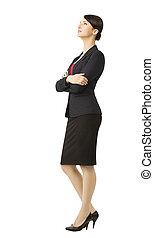 女性ビジネス, 上に, 隔離された, スーツ, 背景, 白