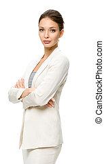 女性ビジネス, 交差させた手, 肖像画, 半分長さ