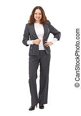 女性ビジネス, 交差させる, 隔離された, 肖像画, 腕, 白