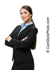 女性ビジネス, 交差する 腕, 肖像画, 半分長さ
