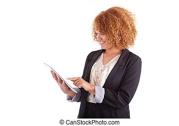 女性ビジネス, 人々, タブレット, -, 隔離された, アメリカ人, 黒い背景, アフリカ, 使うこと, 白, 蝕知
