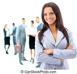 女性ビジネス, 人々, 若い, 背景, 肖像画, 論じる
