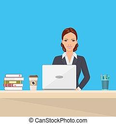 女性ビジネス, 仕事, モデル, ラップトップ, 机