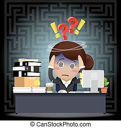 女性ビジネス, 仕事, 混乱させられた, コンピュータ, 机