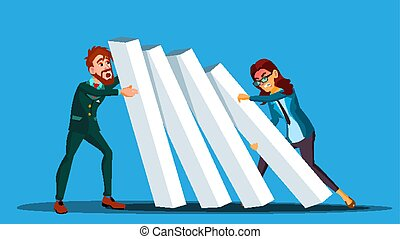 女性ビジネス, 他。, 押す, 2, イラスト, 競争, vector., それぞれ, ドミノ, ビジネスマン, 側