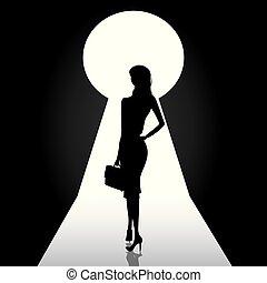 女性ビジネス, 前部, 鍵穴, ドア, 地位, シルエット