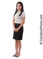 女性ビジネス, 女性実業家, 若い, 長さ, 女性, 微笑。, フルである, 微笑に立つこと, バックグラウンド。, 中国語, アジア人, 白