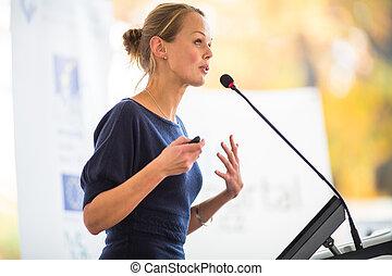 女性ビジネス, 寄付, 若い, かなり, プレゼンテーション