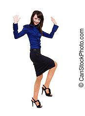 女性ビジネス, 幸福, 跳躍