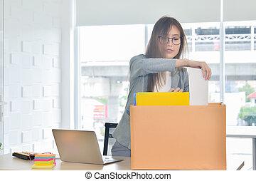 女性ビジネス, 彼女, オフィスの仕事, 引っ越し, 失いなさい, 新しい, ∥あるいは∥, 1の