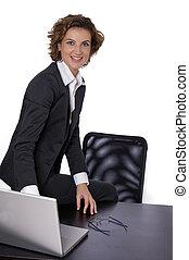 女性ビジネス, 彼女, モデル, 机, 微笑
