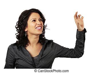 女性ビジネス, 彼女, 手を伸ばす, ラテン語, 何か, 前部, から