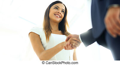 女性ビジネス, 彼女, 手, パートナー, 動揺