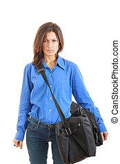 女性ビジネス, 怒る, 行く, スーツケース, 憎悪, 旅行