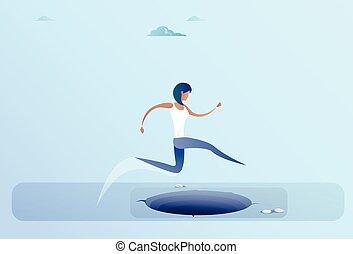 女性ビジネス, 成功, 女性実業家, 上に, ギャップ, ジャンプ, 概念, 危険