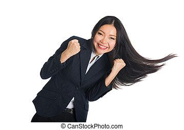 女性ビジネス, 成功, 毛, 祝う, アジア人, 振動