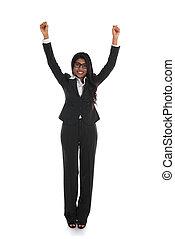 女性ビジネス, 成功, 隔離された, 祝う, 女性, indian, 背景, 白