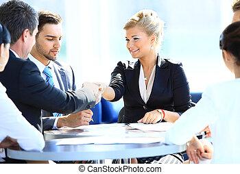 女性ビジネス, 手, 幸せ, 動揺, 人