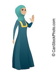 女性ビジネス, 手。, muslim, やし, 提示