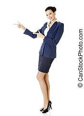 女性ビジネス, 指すこと, スペース, 若い, コピー, 幸せ