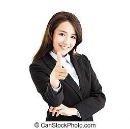 女性ビジネス, 指を 指すこと, あなた, 微笑