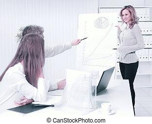 女性ビジネス, 指揮する, プロジェクト, 新しい, プレゼンテーション