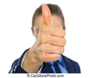 女性ビジネス, 提示, の上, 顔, 親指, 前部