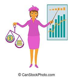女性ビジネス, 提示, イラスト, ベクトル, プレゼンテーション