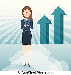 女性ビジネス, 提示, チャート, 成長する, succesful