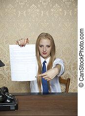 女性ビジネス, 提示, 契約, 印, どこ(で・に)か