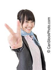 女性ビジネス, 提示, 平和, アジア人, ジェスチャー