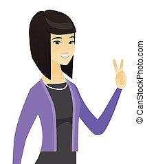 女性ビジネス, 提示, gesture., 勝利, アジア人