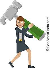 女性ビジネス, 概念, 保有物, ハンマー, マスコット