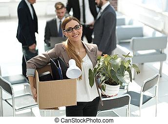 女性ビジネス, 現代, オフィス, もの, 微笑に立つこと, 個人的