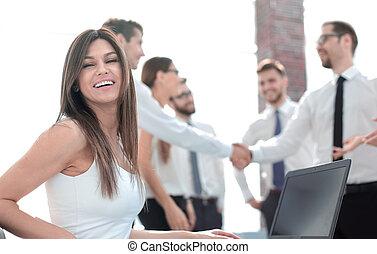 女性ビジネス, 現代, オフィス, 微笑