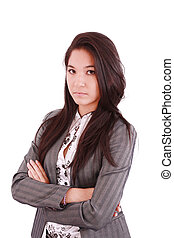 女性ビジネス, 経営者, 確信した, 長さ, クローズアップ, 背景, 半分, 肖像画, アジア人, 白
