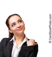 女性ビジネス, 考え, の上, 隔離された, 見る, 微笑, 白