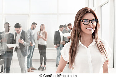 女性ビジネス, 背景, オフィス, 微笑