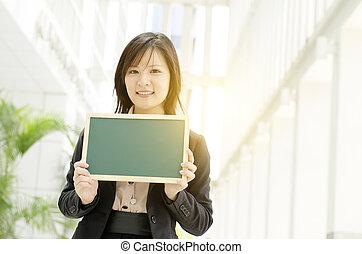 女性ビジネス, 若い, アジア人, 保有物, ブランク, 板