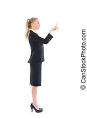 女性ビジネス, 若い, プロフィールの眺め, 指すこと