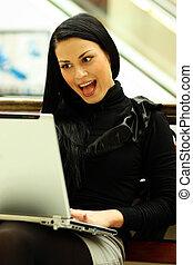 女性ビジネス, 若い, 隔離された, white., 肖像画