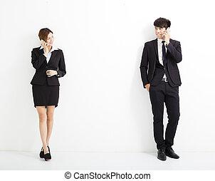 女性ビジネス, 話し, 若い, 電話, 人